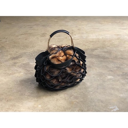 VIOLAd'ORO(ヴィオラドーロ) 『ELMO』Eco Fur× Leather Mesh Tote Bag