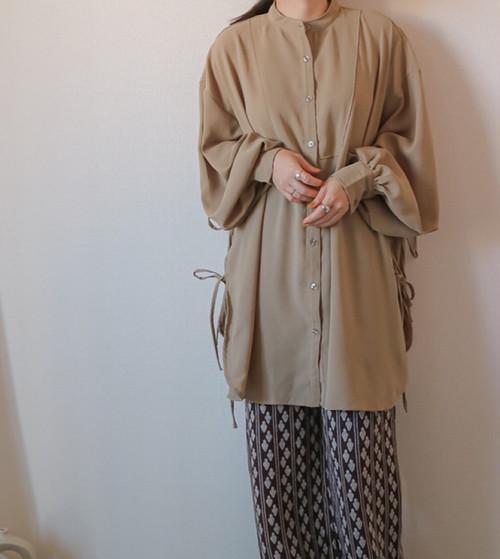 【khaki】サイドリボンオーバーシャツ