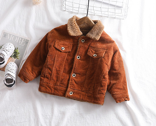 【注文商品】【ベビー / キッズ】Winter Corduroy Turn Down Single Jacket【Brown】