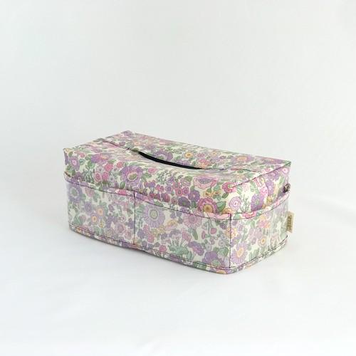 ティッシュカバー 2 ラミネート 花柄 紫色