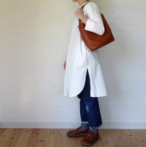 シンプルバッグ(小)茶×ストロベリーピンク 43cm
