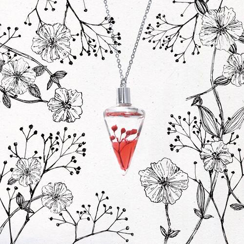 植物標本ネックレス【陽】●揺り動くハーバリウムのネックレス●