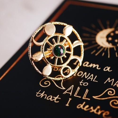 ブラックオパール ムーンフェイズリング(指輪)