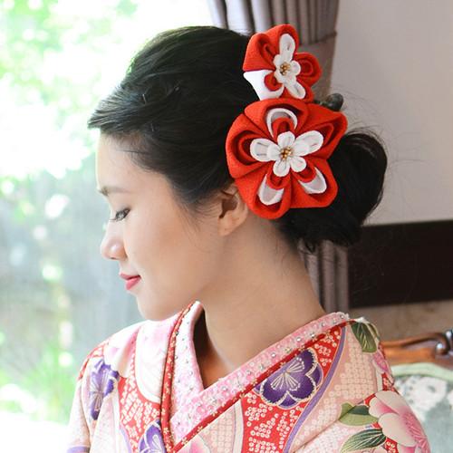 髪飾り 和装 椿 ちりめん 花飾り2点SET/赤・レッド[wa029r]結婚式 成人式