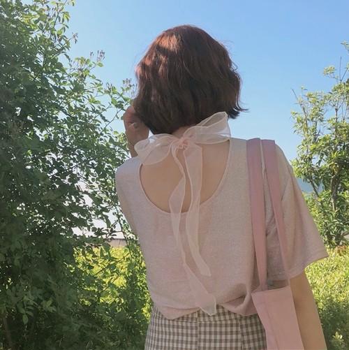 【即納♡】バックリボンTシャツ 6319