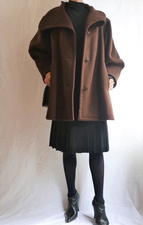 HERMES Brown camel wool Half Coat