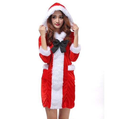 予約 コスプレ服 サンタクロース クリスマスパーティー Xmaパーカー フード付き 長袖 リボン ワンピース コスプレ衣装 コスチューム ハロウィン 秋 冬 レディース 女性用 かわいい ふわふわ サンタコス サンタコスチューム クリスマス衣装 ch1001