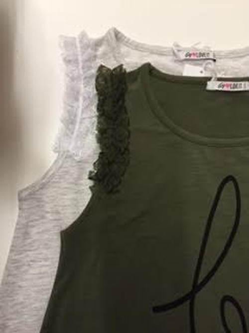 160size【SALE】Aラインフリルタンクトップ【byLOVEIT】