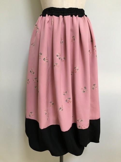 黒絽と小紋のバルーンスカート