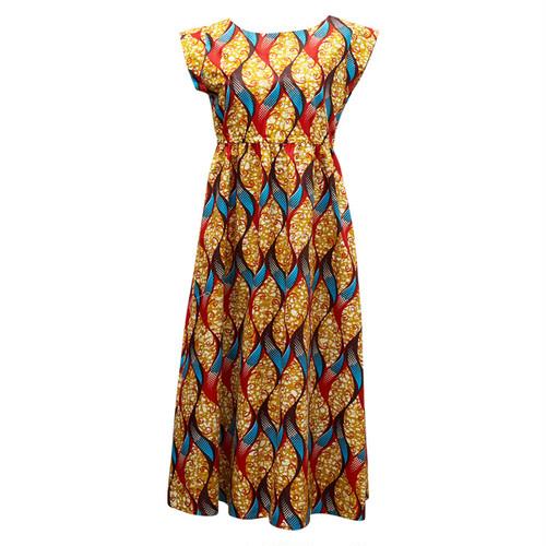 フレンチスリーブワンピース 「唐草」 カーキ × レッド × ブルー / アフリカンファブリック アフリカンバティック ガーナ服