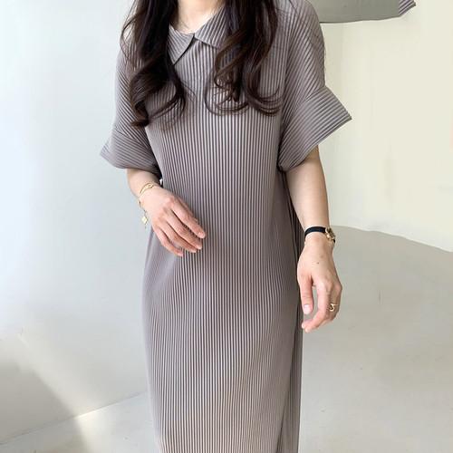 ポロワンピース ロング丈 半袖 韓国 ファッション レディース オルチャン 春 夏 シンプル 大人カジュアル