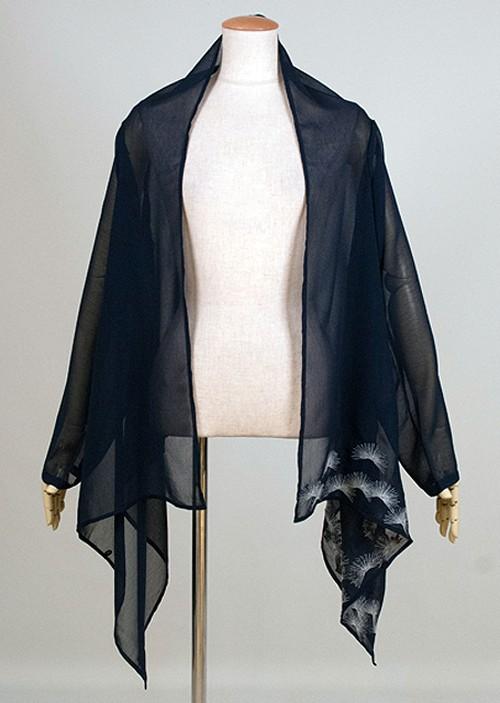 gouk 松葉の刺繍が入った透けている羽織 紺 GGD27-Z076 NV/M