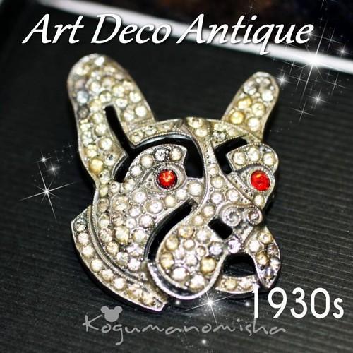 アールデコ アンティーク★ペーストガラス フレンチブルドッグ オープンワーク ブローチ 1930s 犬