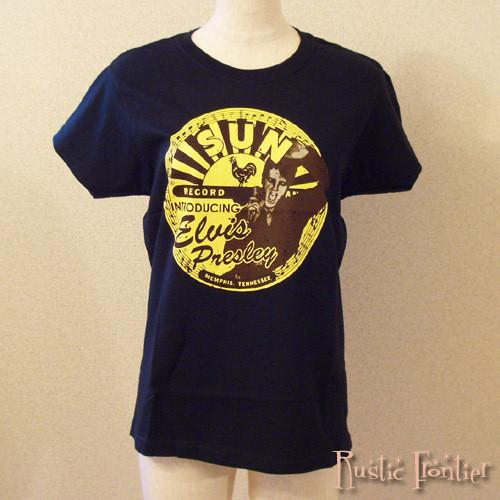 【ロカビリーTシャツ】Elvis プレスリー x SUN レコード ロゴ レディース・ブラックTシャツ S