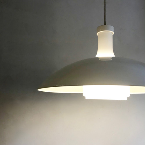 Milk Glass × Metal Pendant Lamp