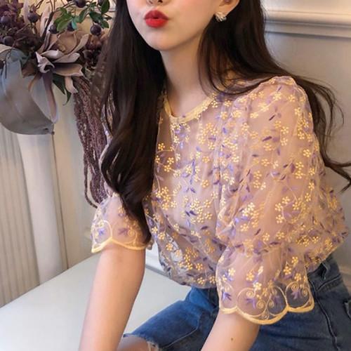 花柄 カラフル 刺繍 シースルー ブラウス 0248