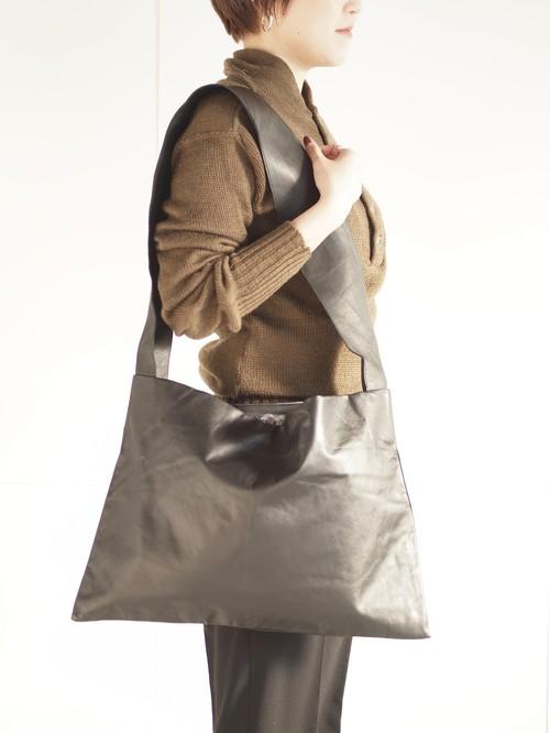 Leather tote bag (L)/Black