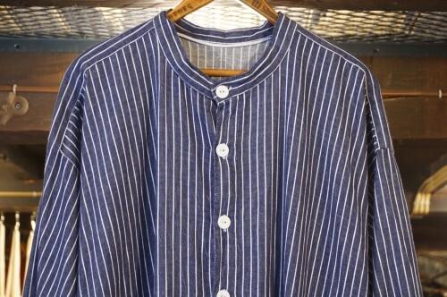 old European striped smock long Shirt