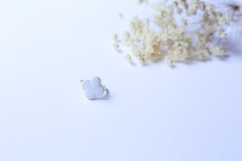 090-r伝統文化品美濃焼多治見四つはタイル指輪・リング(フリーサイズ) 月白色(げっぱくいろ)※証明書付 125