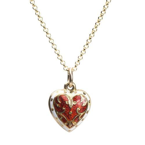 Late Victorian Enamel Heart Necklace