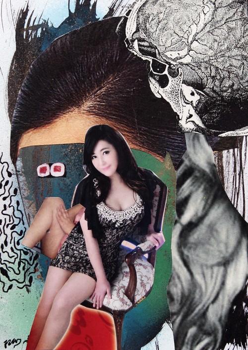 B6①ホメラれた?けど覚えてないの【根本敬ドローイング&コラージュ】四角い月夜シリーズⅢ①