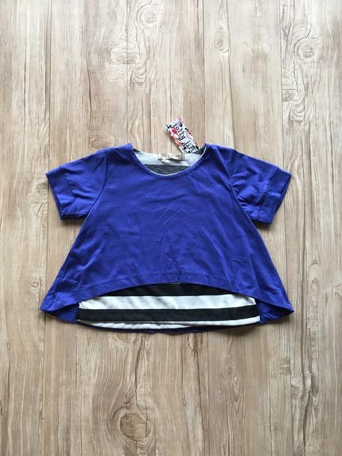 【即納】重ね着風 半袖 カットソー Tシャツ ブルー&ボーダー