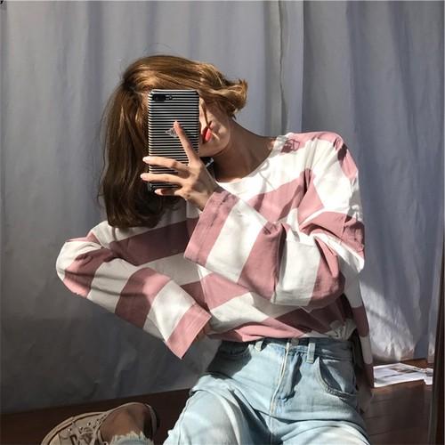 【トップス】ボーダー韓国系春秋カジュアル清新ラウンドネック長袖Tシャツ