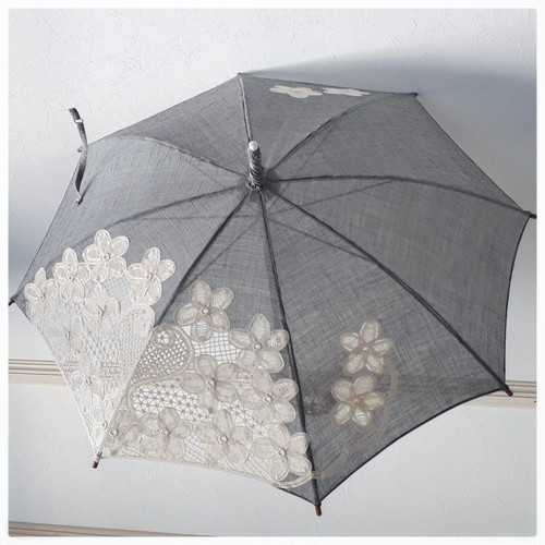 【小千谷縮使用】バテンレース日傘 ブラック