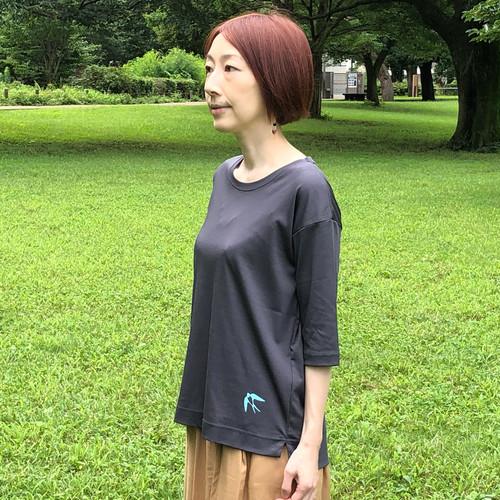 """アシャオーガニック""""swallow""""プリント5分袖Tシャツ"""