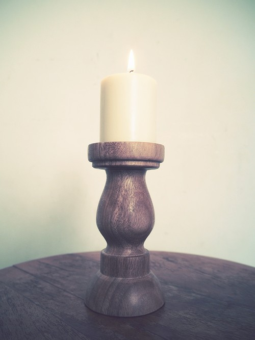 """JESSE"" Wood Candle Stand"