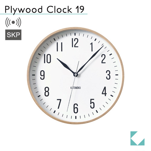 KATOMOKU plywood clock 19 km-111NARCS ナチュラル SKP電波時計