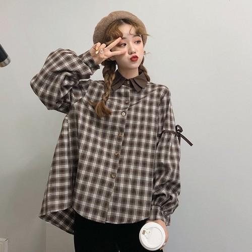 【トップス】新作ファッション不規則チェック柄シャツ