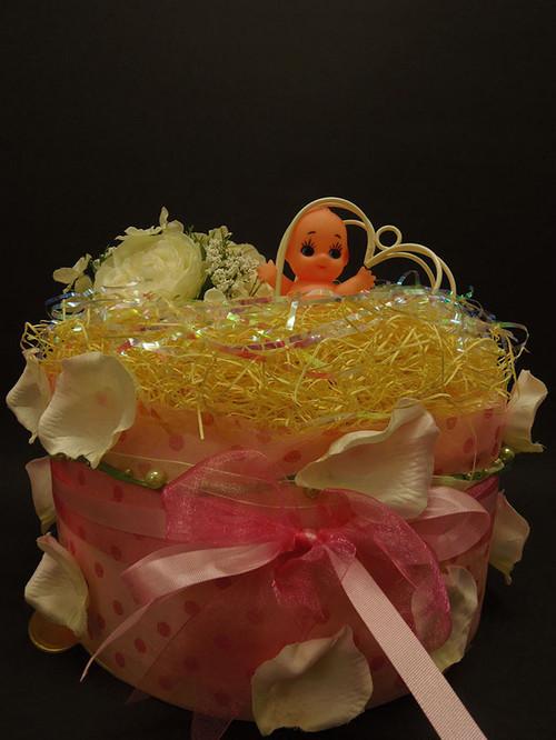 送料無料☆おむつケーキ1段(大)「ピンク☆イエローフラワー☆キューピー」直径25センチ