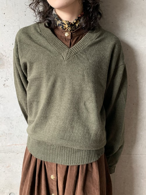 Vintage Unknown Military V Neck Sweater