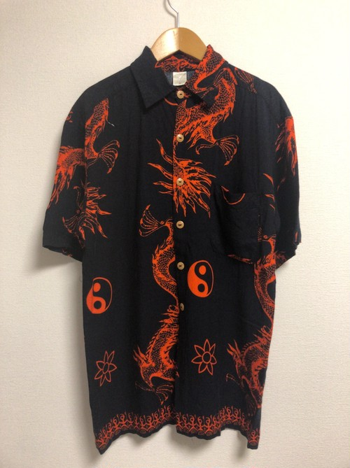 late90's〜early2000's spiritual earthy psychedelic dragon S/S shirt