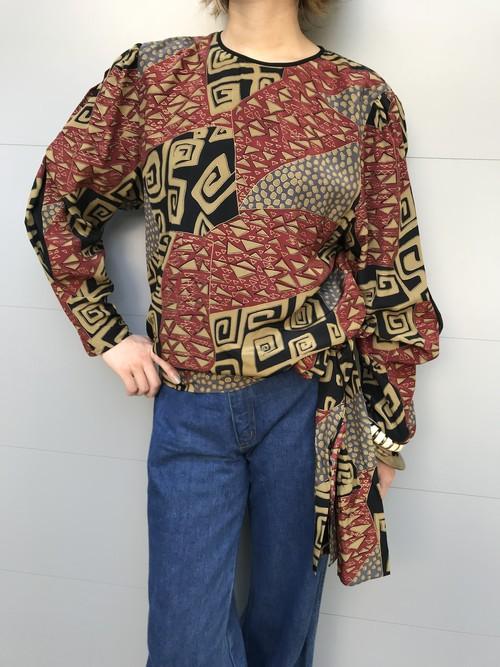 Diane freis silk geometric print tops ( ダイアンフレイス ジオメトリック シルク トップス)