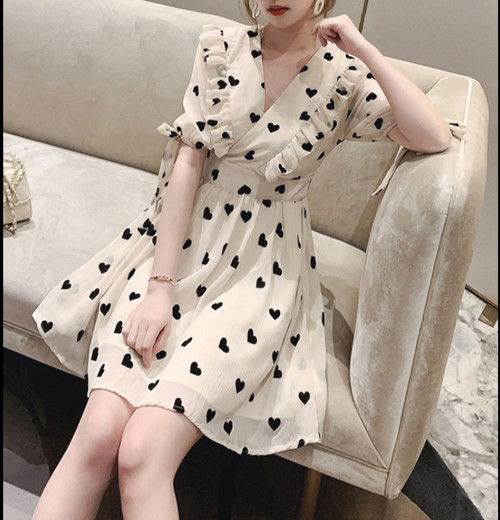 heart  chiffon dress 2color