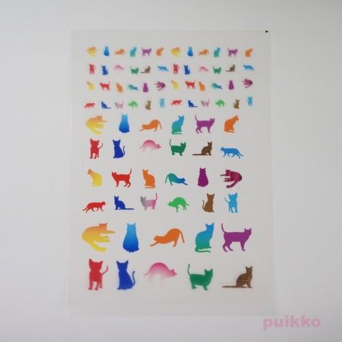 猫のシルエット1カラフル レジン封入用フィルム