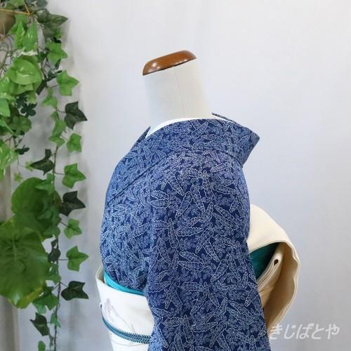 正絹ちりめん 濃藍に葉の総柄小紋 単衣
