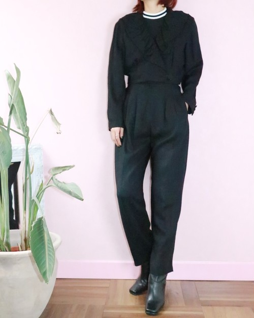 black frill jacket+pants set up