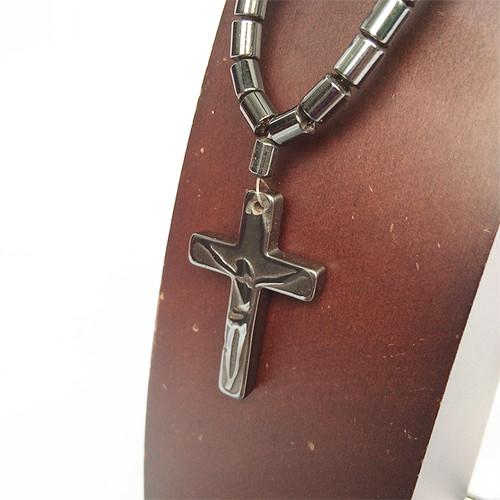 ヘマタイト マグネチック 磁石 磁気 クロス 十字架 ネックレス 1238