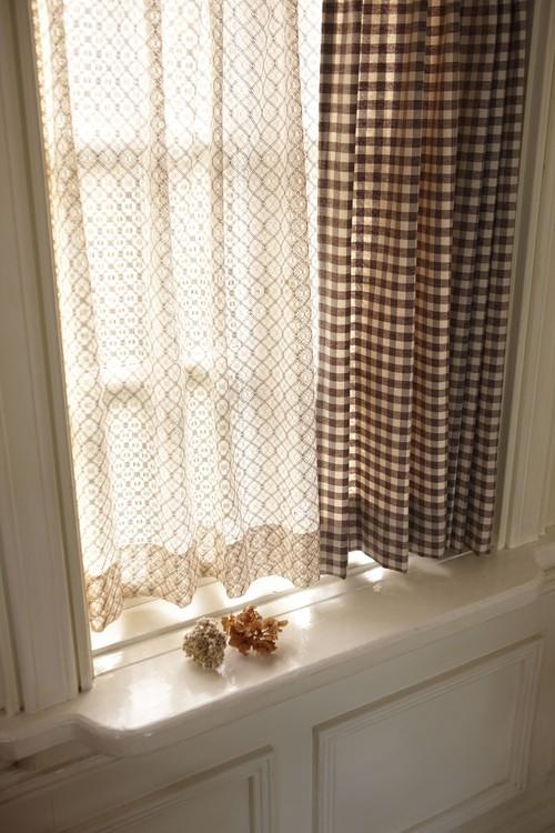 編み模様がきれいなレースカーテン  Thick Lace シックレース 000530 BR
