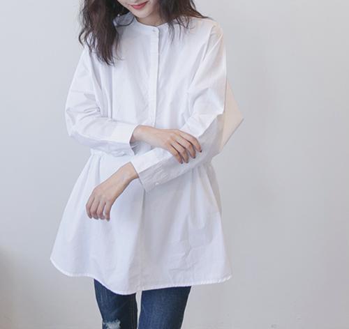 【送料無料】ノーカラー オーバーサイズ シャツ T118