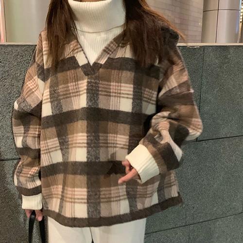 レディース     韓国ファッション    重ね風    ハイネック       長袖    チェック柄     厚手   パーカー・トップス