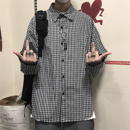 【トップス】新作ins人気レトロチェック柄ゆったりbfカップル長袖シャツ