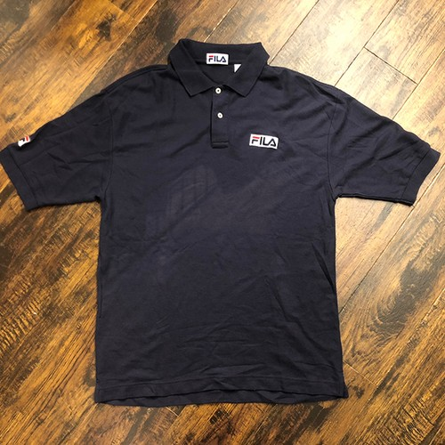 FILA '90 MADE IN U.S.A. NAVY COTTON BASIC LOGO POLO SHIRTS  フィラ 90年代 アメリカ製 紺色 ポロシャツ ヴィンテージ古着