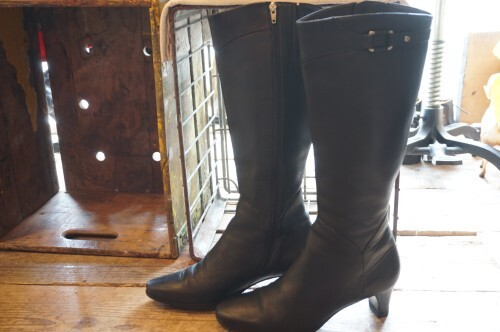 90's COLE HAAN black leather long Boots