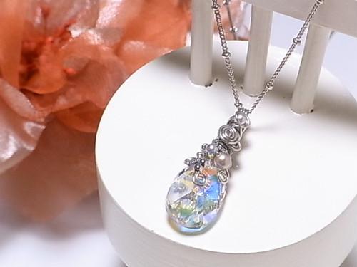 ペアシェイプ スワロフスキー ワイヤーラッピング ネックレス(160214 crystalAB)