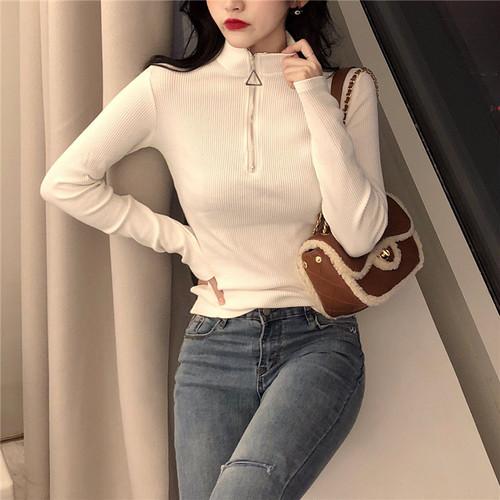 【トップス】女子マストアイテム気質合わせやすいハーフネック長袖Tシャツ