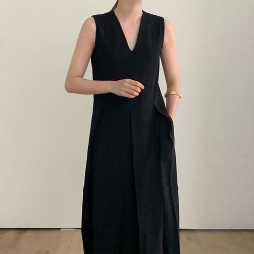 2色 ノースリーブ ワンピース Vネック ロング丈 ブラック ホワイト レディース ファッション 韓国 オルチャン